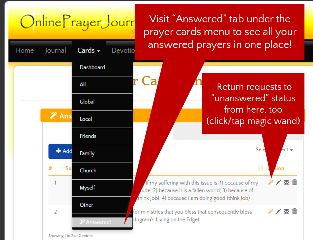 How to Use Answered Prayers in OnlinePrayerJournal.com Account - Image 2