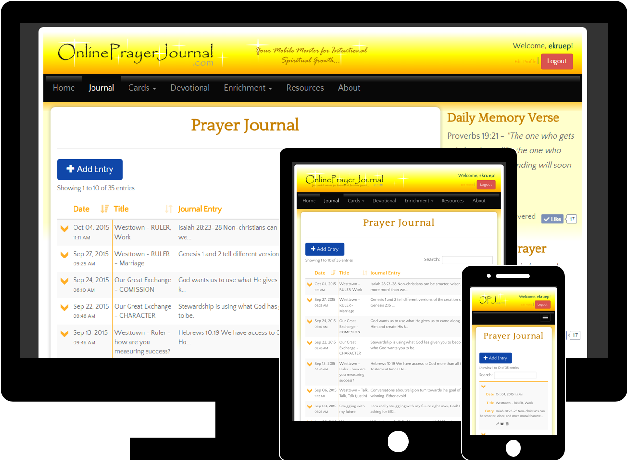 Online Prayer Journal Screenshots