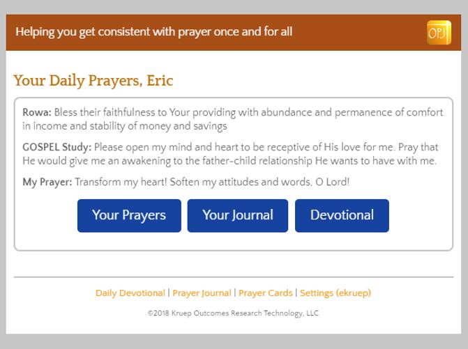 OnlinePrayerJournal.com Prayer Delivery Screenshot