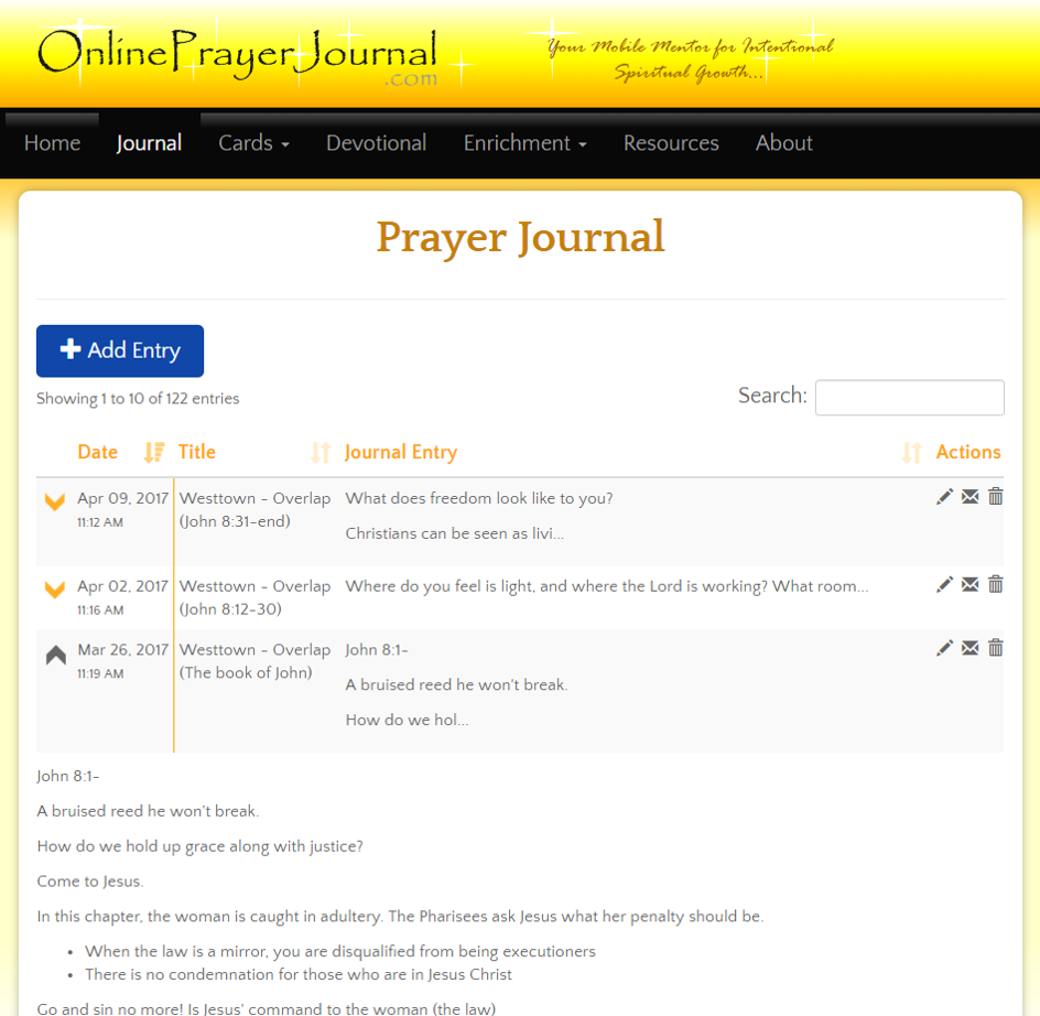 OnlinePrayerJournal.com Prayer Journal Screenshot