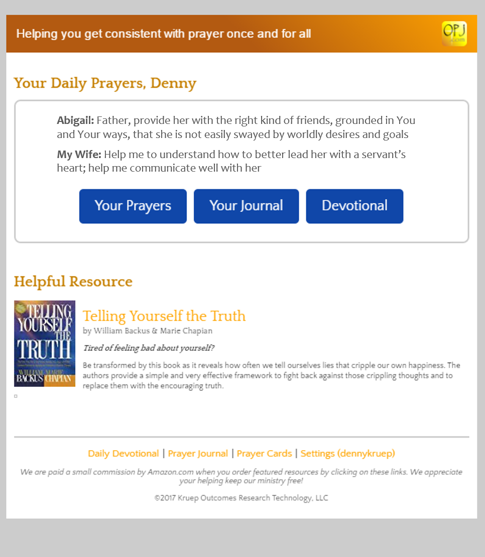 OnlinePrayerJournal.com Prayer Delivery Screenshot
